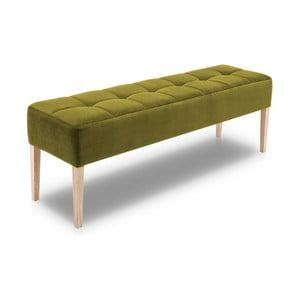 Zelená lavice s dubovými nohami Mossø Hattu, délka 172 cm