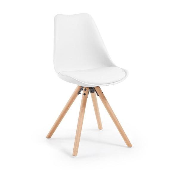 Bílá jídelní židle s dřevěným podnožím La Forma Lars
