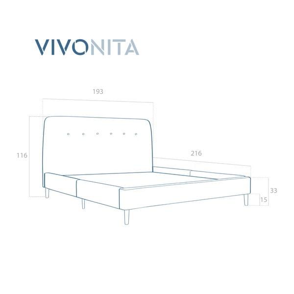 Světle modrá dvoulůžková postel s černými nohami Vivonita Mae King Size, 180 x 200 cm