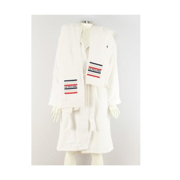 Bílá sada dámského županu a 2 ručníků U.S. Polo Assn. Lutsen, vel. S