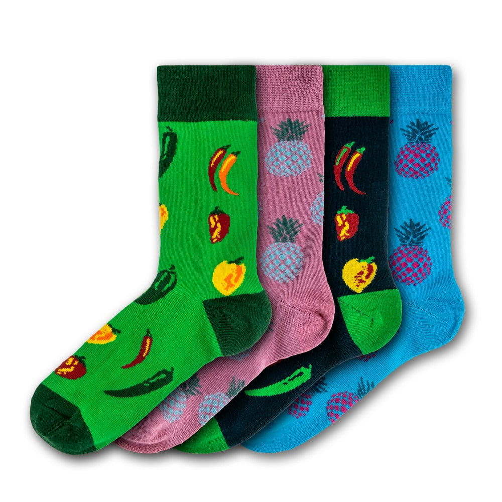 Sada 4 párů barevných ponožek Funky Steps Exotic Fruits, velikost 35 - 39 a 41 - 45