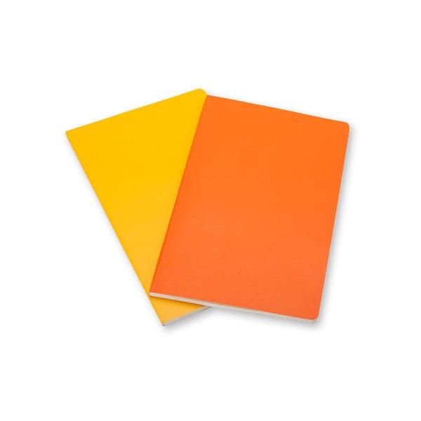 Sada 2 notesů Moleskine Volant 7x11 cm, žlutá + linkované stránky