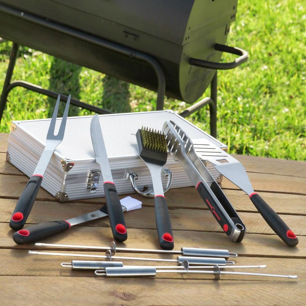 11dílná sada náčiní na grilování z nerezové oceli v kufříku InnovaGoods Professional Barbecue