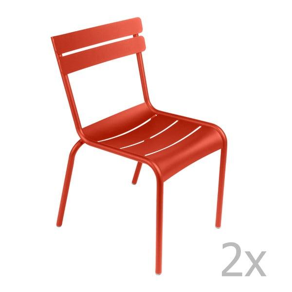 Sada 2 červenooranžových židlí Fermob Luxembourg