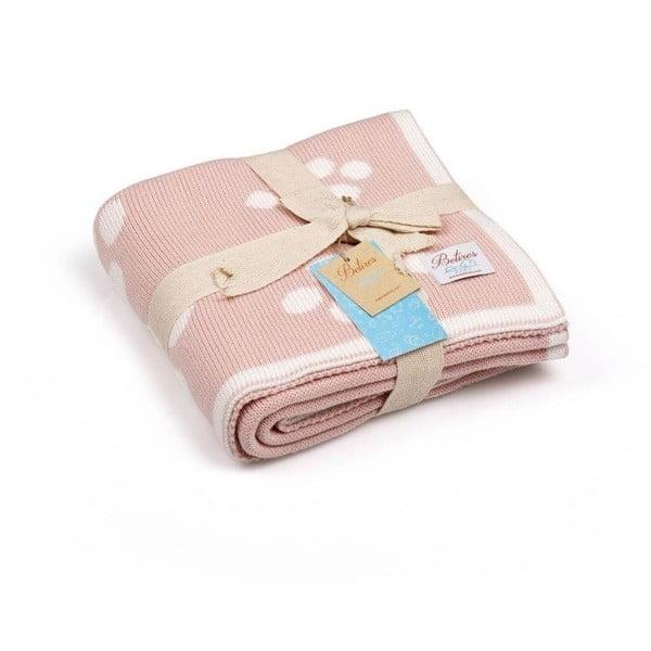 Baby Ecru Paws rózsaszín pamut gyerek takaró, 90 x 90 cm
