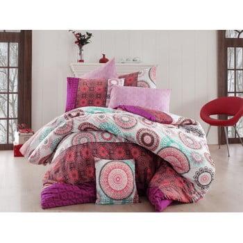 Lenjerie de pat cu cearșaf Ringo Pink, 200 x 220 cm de la Unknown