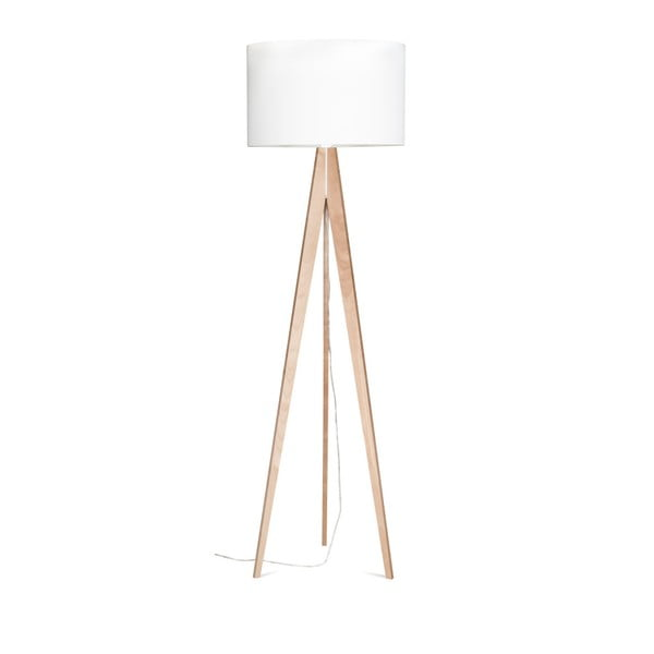 Bílá stojací lampa Artista, bříza, 150 cm