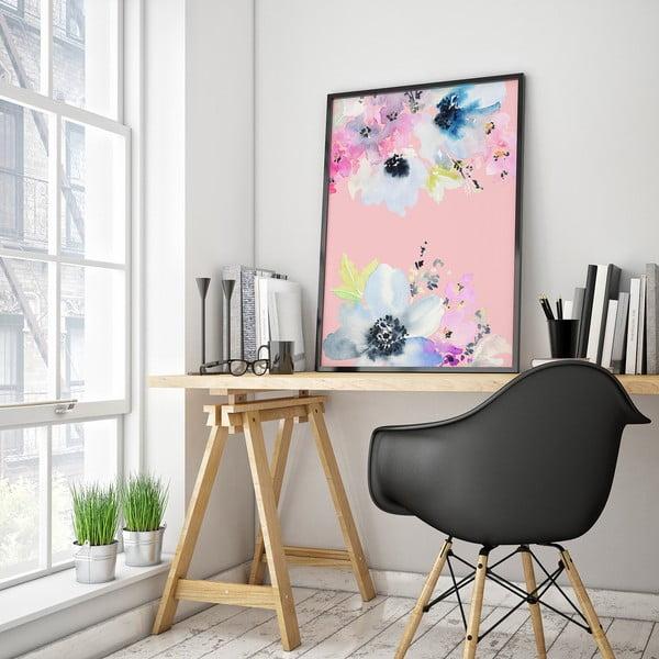 Plakát s modrými květinami, růžové pozadí, 30 x 40 cm