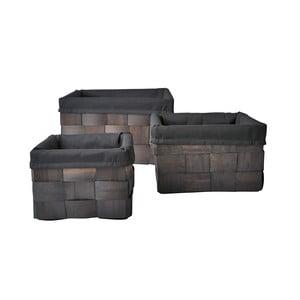 Set tří košíků 20x35x35 cm, tmavé