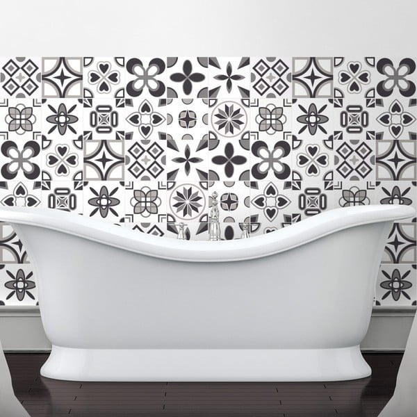 Set 60 autocolante pentru perete Ambiance Rosettes Shade of Gray, 10 x 10 cm