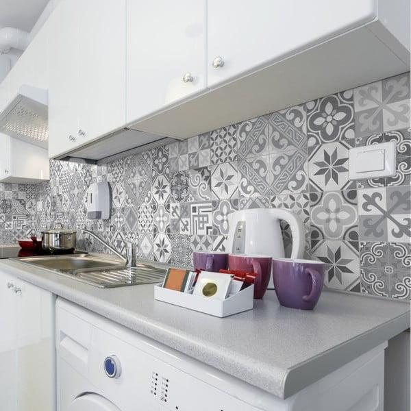 Sada 24 nástěnných samolepek Ambiance Wall Decal Cement Tiles Azulejos Micalina, 10 x 10 cm