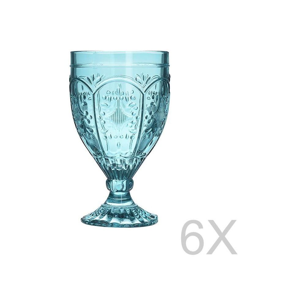 Sada 6 skleněných transparentních modrých sklenic InArt Glamour Beverage Foot