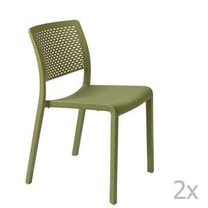 Sada 2 zelených zahradních židlí Resol Trama