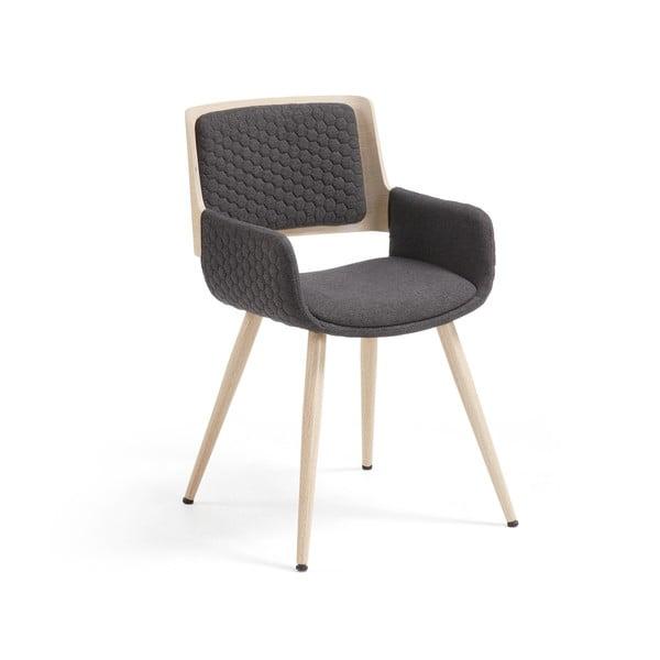Ciemnoszare krzesło z metalowymi nogami i podłokietnikami La Forma Andre