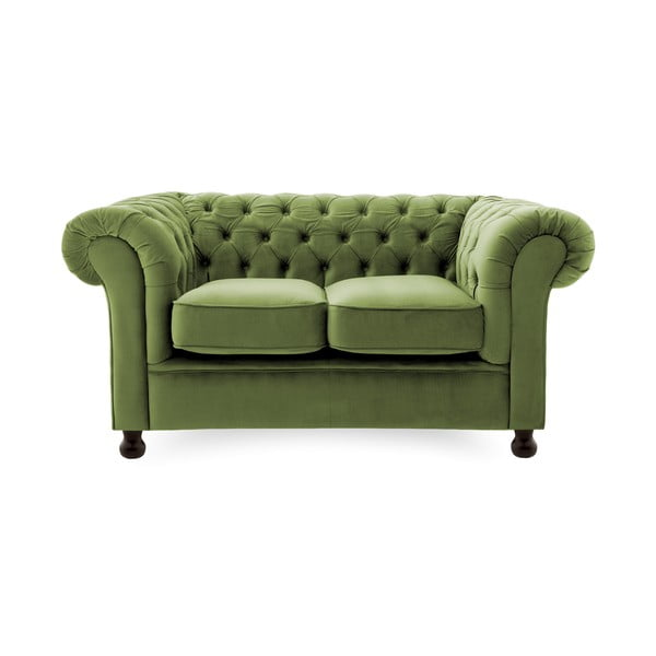 Zielona sofa 2-osobowa Vivonita Chesterfield