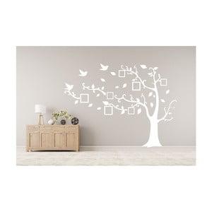 Dekorativní samolepka Bílý strom vpravo s fotorámečky, 180x250 cm