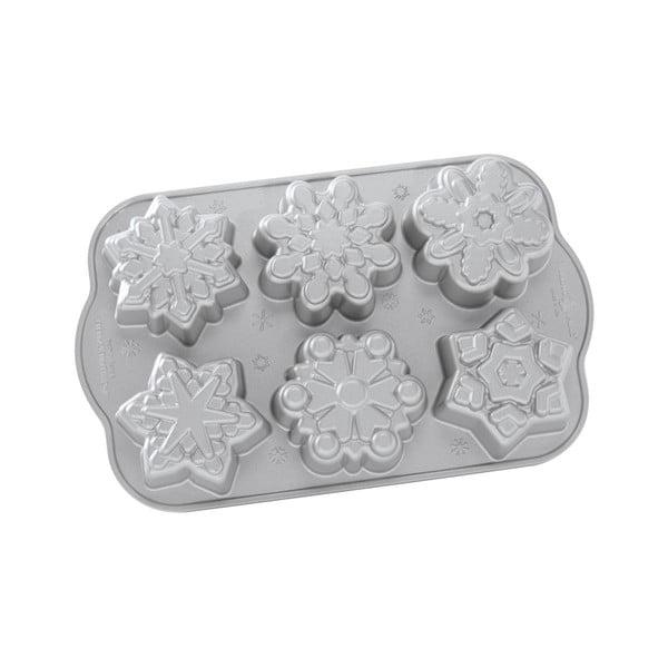 Forma na 6 minibáboviek v striebornej farbe Nordic Ware Snow Flakes, 0,7 l
