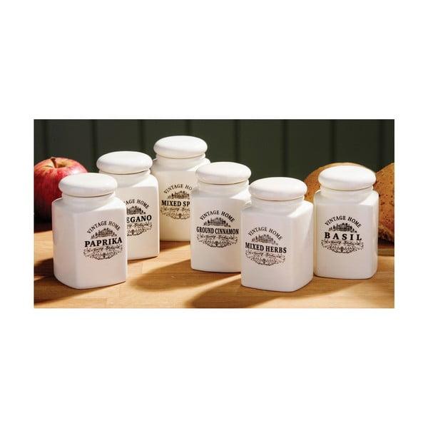 Set 6 recipiente pentru condimente Premier Housewares Vintage Home, crem