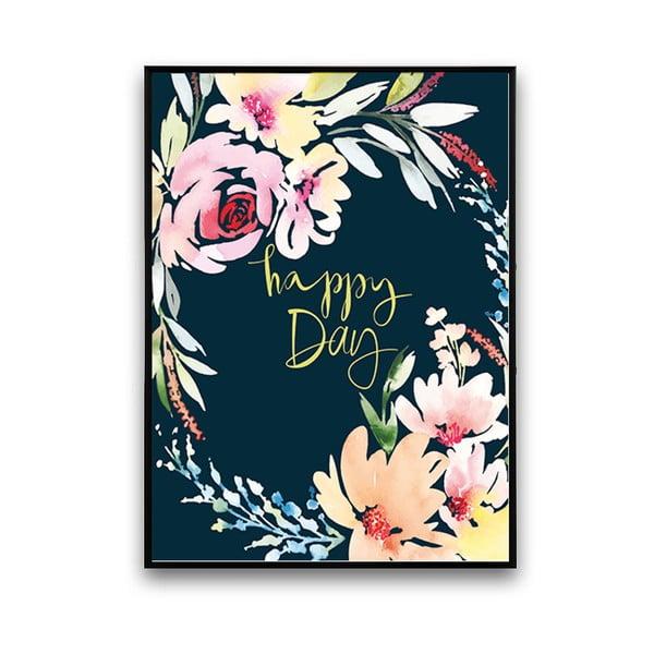 Plakát s květinami Happy Day, černé pozadí, 30 x 40 cm