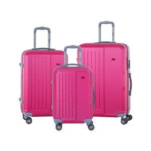 Sada 3 růžových cestovních kufrů na kolečkách se kódovým zámkem SINEQUANONE