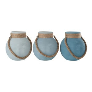 Sada 3 modrých luceren J-Line Lantball, 21 x 23 cm