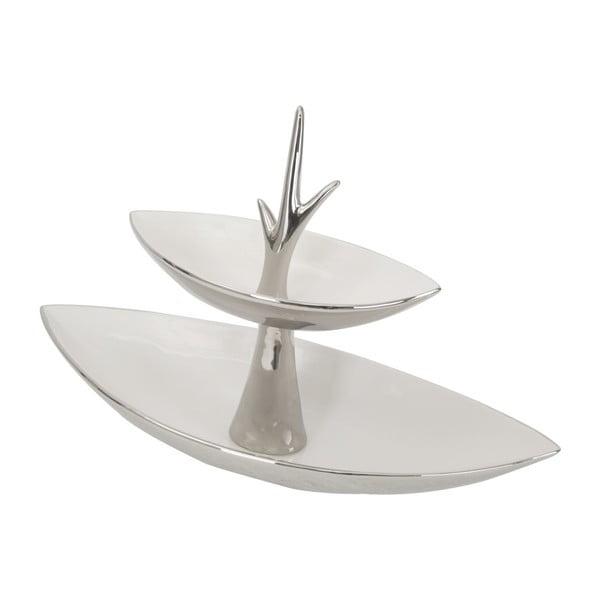 Argento fehér-ezüst kétszintes kerámia tál - Mauro Ferretti