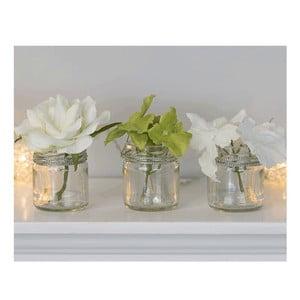 Sada 3 skleněných váz s umělou květinou Hydragena, 8 cm