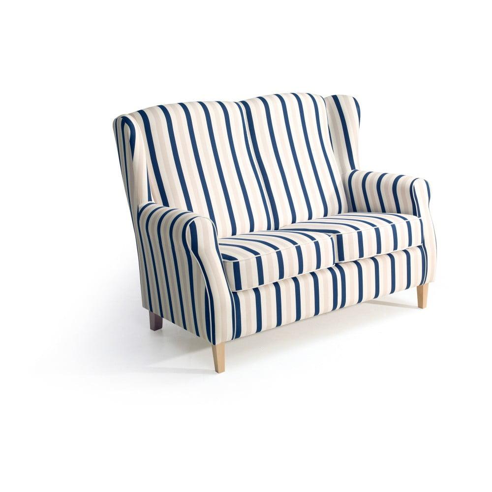 Modrobílá dvoumístná pruhovaná pohovka Max Winzer Lorris