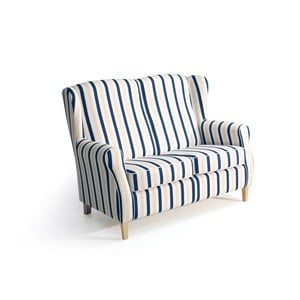 Canapea în dungi, 2 locuri,  Max Winzer Lorris, albastru-alb