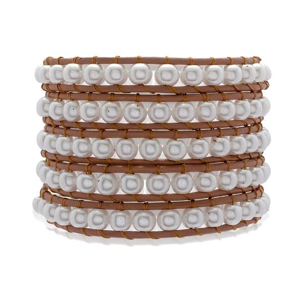 Hnědý dvouřadý náramek z pravé kůže s perlami Lucie & Jade