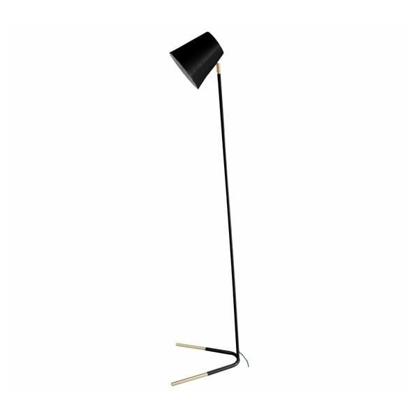 Čierna stojacia lampa s detailmi v zlatej farbe Leitmotiv Noble