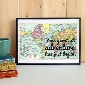 Plakát v dřevěném rámu Your Greatest Map Print