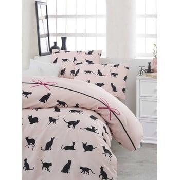 Lenjerie de pat cu cearșaf Cats, 200x220cm de la Eponj Home