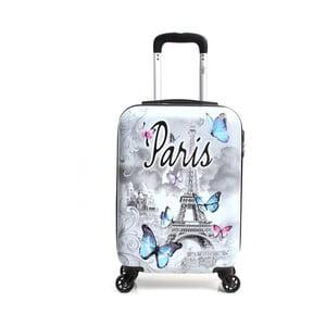Bílý cestovní kufr na kolečkách Hello Paris