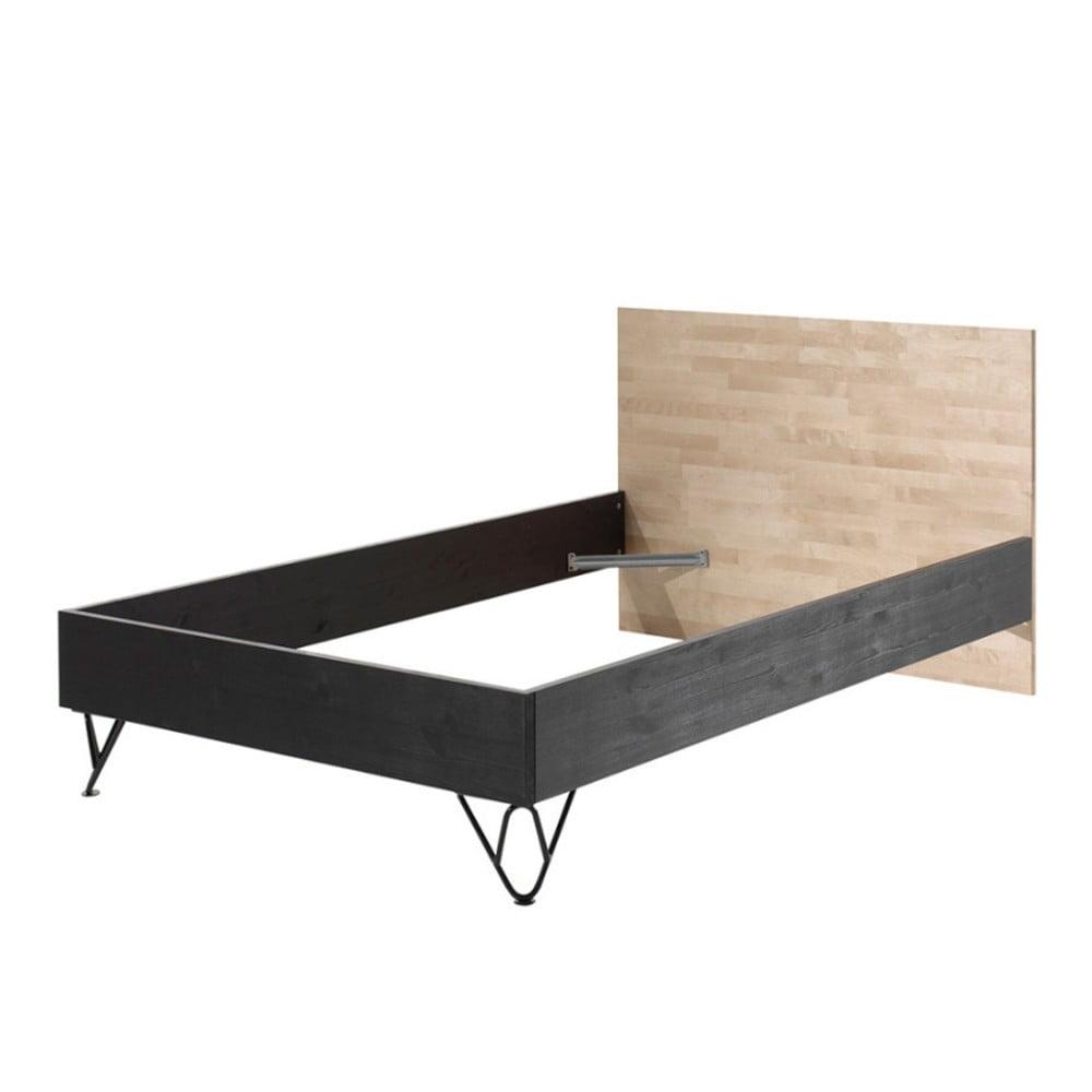 Hnědo-černá postel z masivního borovicového a březového dřeva Vipack William, výška 126 cm