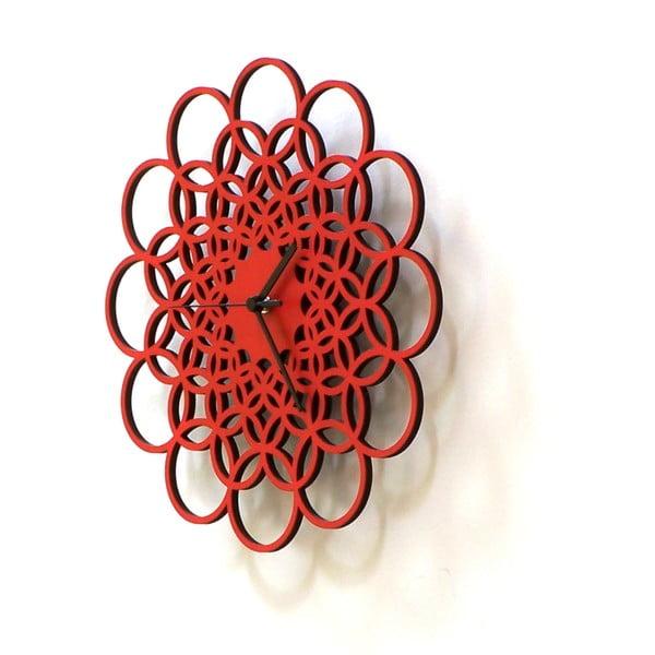 Dřevěné hodiny Rings červené, 29 cm