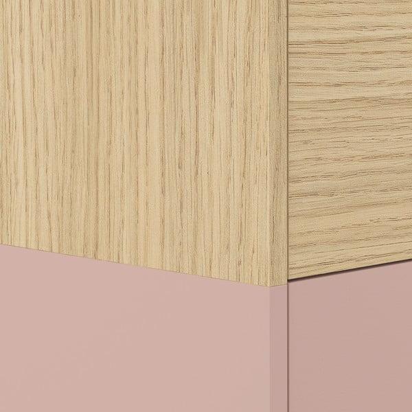 Růžová skříňka v dekoru dubového dřeva Symbiosis Horizon