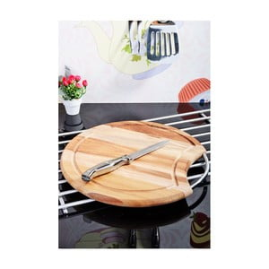 Krájecí prkénko s ocelovým uchem z akátového dřeva Kosova Round, 30cm