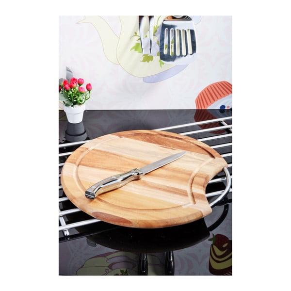 Bambusowa deska do krojenia z drewna akacji ze stalowym uchem Kosova Round, ⌀ 30cm