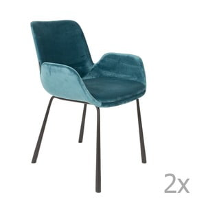 Set 2 scaune cu cotiere Zuiver Brit, albastru