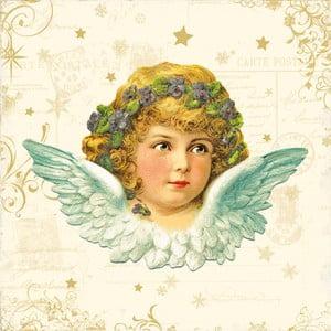 Balení 10 papírových ubrousků s vánočním motivem PPD Vintage Angel
