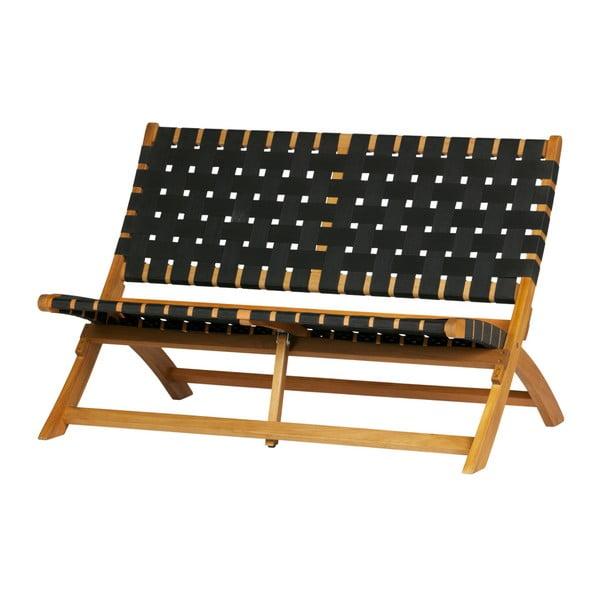 Hnědo-černá zahradní lavice z masivního eukalyptového dřeva WOOOD Lois