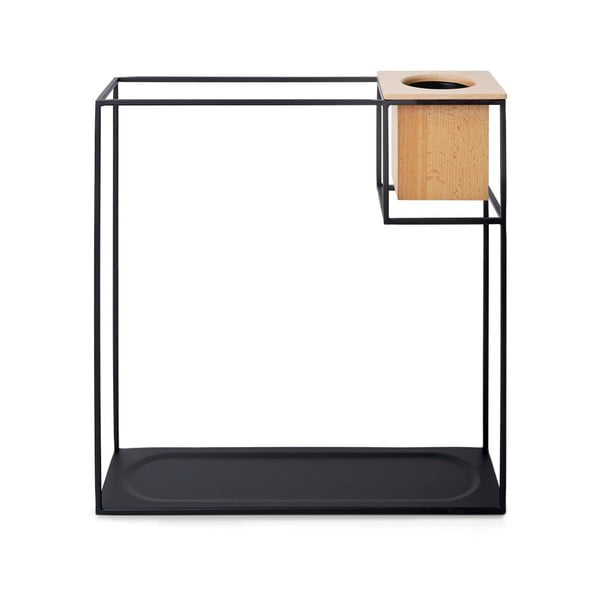 Czarna metalowa półka z kwietnikiem Umbra Cubist, 38 x'38 cm