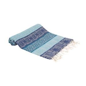 Modrá ručně tkaná osuška Ivy's Emine, 100x180cm
