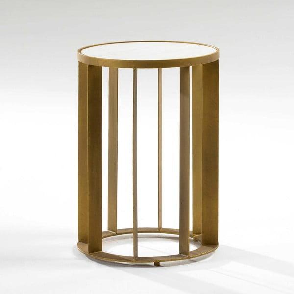 Odkládací stolek s mramorovou deskou a nohami ve zlaté barvě Thai Natura, ∅42cm
