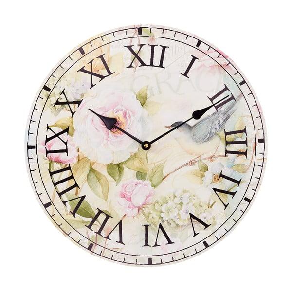 Nástěnné hodiny Pink Flowers, 34 cm