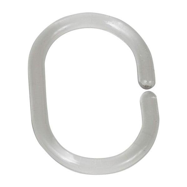 Sada 12 průhledných kroužků na tyč ke sprchovému závěsu Wenko Shower Hooks
