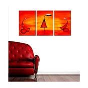 3dílný obraz Red Girl, 45x90 cm