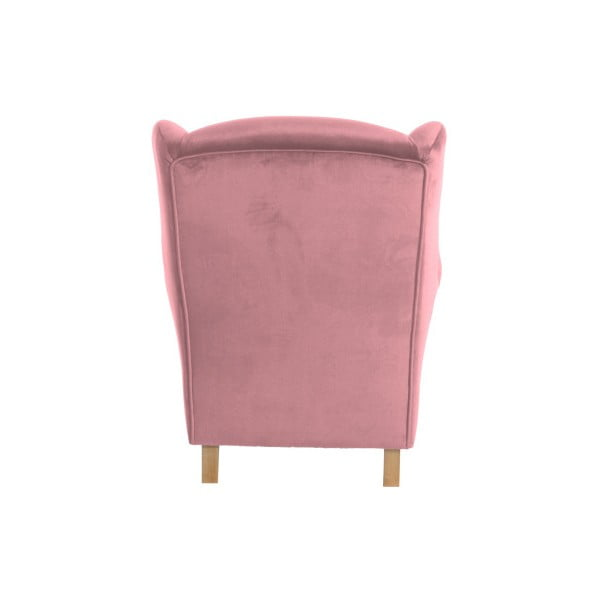 Růžové křeslo ušák Max Winzer Lorris Velour Rose