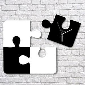 Nástěnné hodiny Black White Puzzle